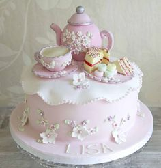 Ideas For Party Girl Cake Tea Cups - Shopkins Party Ideas Afternoon Tea Birthday Cake, Afternoon Tea Cakes, Tea Party Birthday, 70th Birthday Cake, Pretty Cakes, Beautiful Cakes, Amazing Cakes, Bolo Fack, Teapot Cake