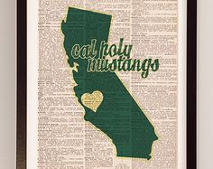 Cal Poly Print - San Luis Obispo Art - Print on Vintage Dictionary Paper - Cal Poly Mustangs, California, Graduation Gift