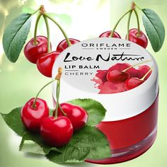 31076-Love Nature balzam za usne od trešnje 7g. Oriflame Cosmetics, Natural Cosmetics, Lip Balm, Desi, Portugal, Cherry, Lips, Fruit, Makeup