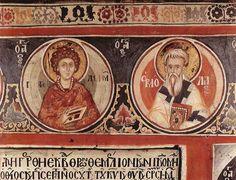 Saints Pantaleon and the second I think I am reading St Ermolaos Russian Icons, Religious Paintings, Byzantine Icons, Fresco, Saints, Clip Art, Reading, Icons, Fresh