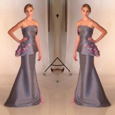 Double the chic.  #spring2014 #fashion #fashiondesigner #gown #dress #eveningwear #couture #flowers #periwinkle #pink #model #luxury