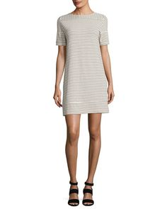 A.P.C. Mauricia Striped Short-Sleeve Shift Dress, Gray. #a.p.c. #cloth #