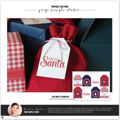 LOVE these Santa Tags designed by @Kristin | Paige Simple Studio as seen in the TomKat Holiday Gift Guide! So cute! Download here: http://www.thetomkatstudio.com/holidaygifttags/