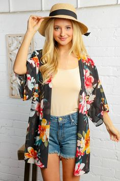 Black Watercolor Floral Open Kimono Floral Kimono Outfit, Kimono Top, Monday Dress, Leopard Print Cardigan, Black Media, Dress First, Chiffon Fabric, Black Water, Casual Dresses