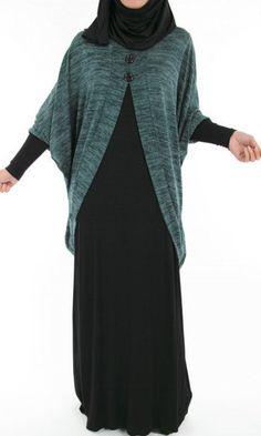 Abaya Dress with velvet cardigan.