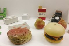 Some of the food items from Oldenburgs Mouse Museum, which is on display in MoMA atrium.