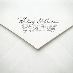 Wood Handle Return Address Stamp - Custom - Calligraphy Style. $27.50, via Etsy.