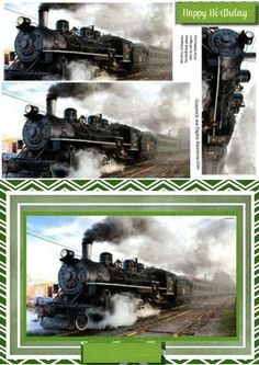 Lovely Steam train on the tracks  on Craftsuprint designed by Ceredwyn Macrae - A lovely card to make and give to any male on his Birthday Lovely steam trainon the tracks a lovely card has one greeting tag and a blank one for you to choose the sentiment, - Now available for download!