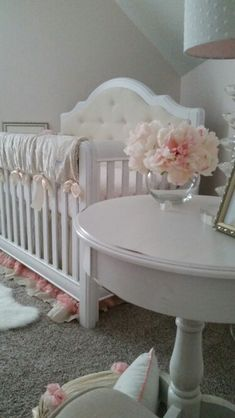 Baby girl nursery, petal pink, white, cream and gold. Glenna Jean victoria…
