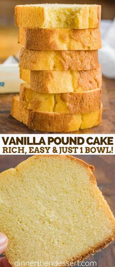 Vanilla Pound Cake is a classic recipe that's sweet, dense, and incredibly EASY to make with simple ingredients and bakes in only 60 minutes! Vanilla Pound Cake is a classic recipe that's sweet, dense, and incredibly EASY to make with simple ingredients a Vanilla Pound Cake Recipe, Pound Cake Recipes, Easy Cake Recipes, Easy Desserts, Delicious Desserts, Dense Cake Recipe, Easy Sponge Cake Recipe, Butter Pound Cake, Loaf Recipes