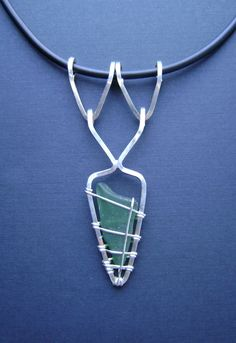 SALE Sea Glass Jewlery - Sterling Green Beach/Sea Glass Necklace.  This gal does the most amazing designs.  Beautiful pieces. Good inspiration for me. I should have this mastered in about 40 years!