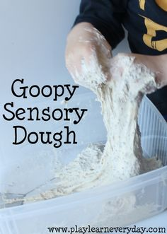 We made goopy sensory dough out of the Halloween Slimy Goop that we made the other day and it was even more fun to explore the second time around.