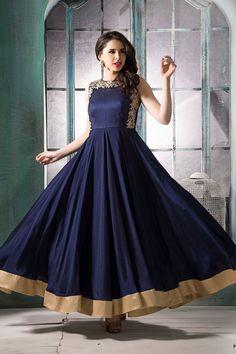Blue color chinoi silk fabric anarkali suit n floral design