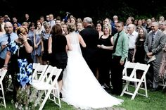 Arriving from the side instead of 'down' the aisle.