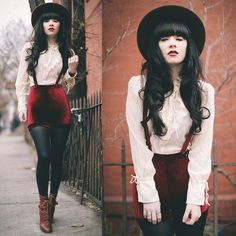 Rachel-Marie Iwanyszyn - Black Milk Clothing Velvet Suspender Shorts, Vintage Shirt - You're gonna be the one that saves me.