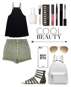 """""""Cool Beauty"""" by akr13 ❤ liked on Polyvore featuring Aéropostale, River Island, Ray-Ban, Gucci, NARS Cosmetics, Trish McEvoy, Forever 21, Bobbi Brown Cosmetics and Essie"""