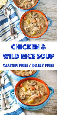This Chicken and Wild Rice Soup is so rich and creamy, you would never know it's dairy free AND gluten free! This soup is true comfort food! Greek Lemon Chicken, Creamy Chicken, Side Dishes Easy, Main Dishes, Chicken Wild Rice Soup, Dairy Free, Gluten Free, Soup Recipes, Free Recipes