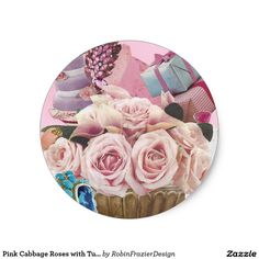 Pink Cabbage Roses with Turquoise Classic Round Sticker