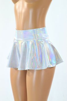 This item is made to order, please read all the way through the listing before purchasing!   Silvery white flashbulb holographic mini skirt.