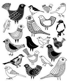 Estampa de pássaros