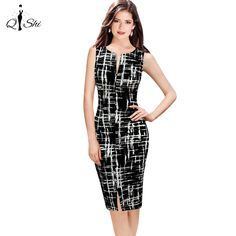 2016 Casual Women Bodycon Dress Women Print O-Neck Sleeveless Tank Wear To Office Work Sheath Pencil Party Dresses