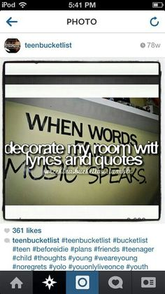 Decorate my room with quotes an lyrics