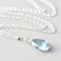 Blue Topaz Pendant Necklace Light Blue Necklace by NansGlam