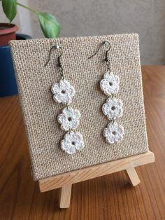 Items similar to Crochet Earrings, Long Earrings, Small Crochet Flowers, White Earrings on Etsy Crochet Jewelry Patterns, Crochet Earrings Pattern, Crochet Flower Patterns, Crochet Accessories, Crochet Designs, Crochet Flowers, Cute Crochet, Crochet Crafts, Crochet Yarn