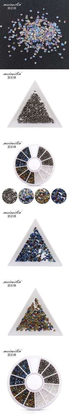 meicailin Mixed Colors Clear Crystal AB Rhinestones Nail Art Rhinestones DIY Nails 3D Nails Art Decorations Manicure Accessories