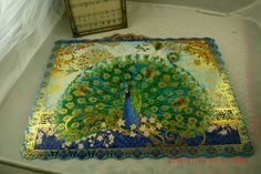 Vintage Set Of Five Vibrant Gorgeous Paper Peacock Place Mats Victorian Romantic Home ~Craft Supply/Project~ by thebedpost02 on Etsy