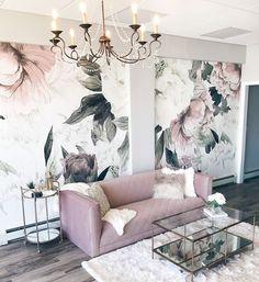 modern glam interior design featuring blush pink velvet sofa, glam chandelier and floral wallpaper designed by Alisa Bovino Living Room Designs, Living Room Decor, Bedroom Decor, Glam Living Room, Spa Like Living Room Ideas, Sofa In Bedroom, Blush Pink Living Room, Spa Room Decor, Design Bedroom