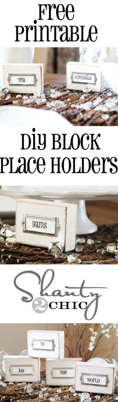 DIY Wooden Block Label Holders & a Giveaway - Shanty 2 Chic Diy Wood Projects, Fun Projects, Wood Crafts, Diy And Crafts, Buffet Design, Bar Design, Decoration Table, Decorations, Wooden Blocks