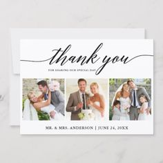 Shop Brush Script Best Day Ever 3 Photo Wedding Thank You Card created by HappyMemoriesCardCo. Personalize it with photos & text or purchase as is! Thank You Photos, Photo Thank You Cards, Wedding Thank You Cards, Photo Cards, Affordable Wedding Venues, Unique Weddings, Outdoor Weddings, Foto Magazine, Wedding Calligraphy