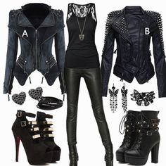 Black on black leather outfit Black on Black Leather outfit Black on Black Le. Black on black leather outfit Black on Black Leather outfit Black on Black Leather outfit Lisa Just - # Cute Emo Outfits, Komplette Outfits, Teen Fashion Outfits, Gothic Outfits, Casual Outfits, Womens Fashion, Cute Emo Clothes, Black Outfits, Mode Statements