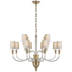 Vivian Two-Tier Chandelier by Thomas O'Brien in Hand-Rubbed Antique Brass and Crystal