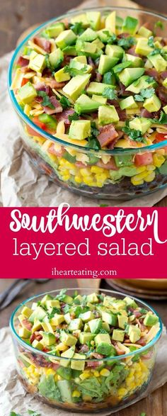 Salad Southwestern Layered Salad - easy, healthy dinner recipe that's a big hit with the family.Southwestern Layered Salad - easy, healthy dinner recipe that's a big hit with the family. Healthy Dinner Recipes, Mexican Food Recipes, Healthy Snacks, Cooking Recipes, Healthy Meal Options, Healthy Weekend Meals, Good Healthy Meals, Healthy Dinner Sides, Healthy Meats