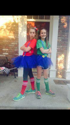 Mario and Luigi Halloween  costumes for Girls  Materials * dark blue tool  * ribbon  * knee socks * t- shirts * felt  * elastic