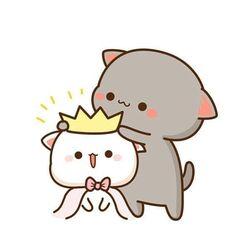 Cute Anime Cat, Cute Bunny Cartoon, Cute Kawaii Animals, Cute Cartoon Pictures, Cute Cartoon Drawings, Cute Love Pictures, Cute Love Cartoons, Cute Kawaii Drawings, Cute Cat Gif