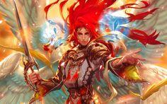 art Midori Foo angel man sword wings crystal red warrior wallpaper background