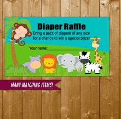 Safari Diaper Raffle, Diaper Raffle Ticket Baby Shower Diapers Printable Safari Diaper Raffle, SF03O Instant Download, Invitation Insert