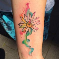 Most Popular Ways To Watercolor Daisy Tattoo Gerbera - Daisy Tattoos Are Beautiful And One Of The Most Popular Flower Tattoos Learn About Daisy Tattoo Designs Daisy Tattoo Meanings Daisy Tattoo Ideas And View Our Tattoo Pictures Flowers Are The Ultim Watercolor Daisy Tattoo, Gerbera Daisy Tattoo, Daisy Flower Tattoos, Gerbera Flower, Butterfly Tattoos, Popular Tattoos, Trendy Tattoos, Love Tattoos, Beautiful Tattoos