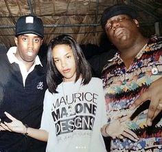 Aaliyah with Puffy & Biggie Smalls ❤️ Rest in peace beautiful Aaliyah, we miss u so damn 🌹❤️ Rest in peace Biggie, thank you for all your music, your feelings thank u for everything 👑 King of Rap Both legends died too young 90s Hip Hop, Hip Hop And R&b, Hip Hop Rap, Hiphop, Looks Hip Hop, Aaliyah Style, Aaliyah Outfits, Arte Hip Hop, Puff Daddy