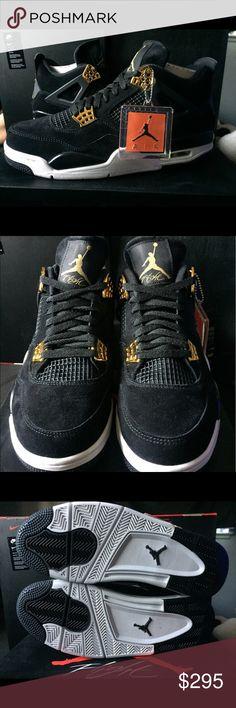 Nike Air Jordan 4 Royalty Black & Gold Mens Sz 10 Nike Air Jordan 4 Royaltys  Size: Mens US 10  Condition: Brand new, Deadstock   Includes: Og box and Footlocker receipt  100% AUTHENTIC Air Jordan Shoes Sneakers