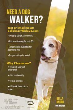 Copy of Dog Walker Flyer Template Dog Walking Jobs, Dog Walking Services, Dog Walking Business, Pet Sitting Jobs, Dog Sitting Prices, Dog Walker Flyer, Pet Sitter, Dog Care, Pet Services