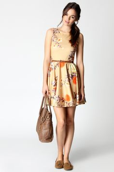 Yellow oriental floral print aline dress
