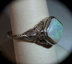 Art Deco 14k White Gold Filigree Opal Ring from bejewelled on Ruby Lane