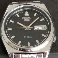 Automatic SEIKO 5   Vintage watch  Deep Black Dial Mens Watch