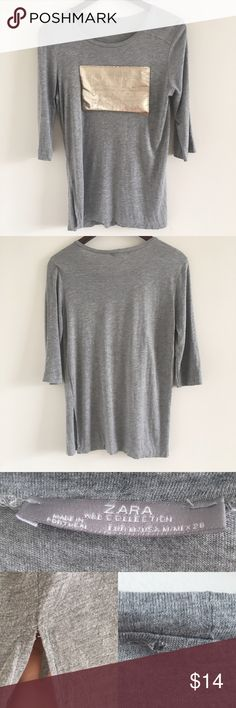 "ZARA ""Don't Stop the Fashion"" Grey Tee Sz Med A 3/4 sleeve t-shirt with metallic vegan leather patch that reads ""Don't Stop the Fashion"".  The perfect edgy casual top 😎  Stats (laying flat): Length: approx. 26"" 