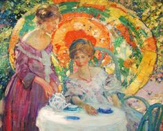 "Richard Emil Miller (1875-1943) American Impressionist Painter, ""Afternoon Tea"""