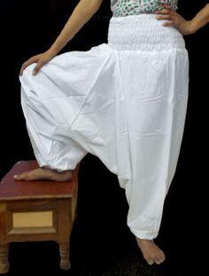 INDIAN STYLISH ALIBABA 100% COTTON WHITE PLAIN HAREM PANTS UNISEX TROUSERS BAGGY
